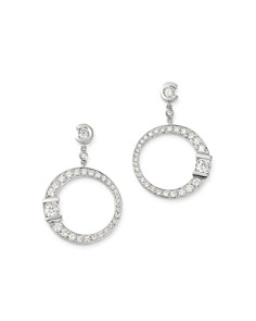 Roberto Coin - 18K White Gold Pavé Diamond Signature Drop Earrings